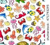 cute sea and ocean cartoon... | Shutterstock .eps vector #471793295