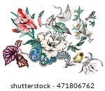 watercolor hand drawn pattern... | Shutterstock . vector #471806762