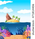 scene with island and coral... | Shutterstock .eps vector #471814406