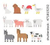 flat design farm animal set... | Shutterstock .eps vector #471815252
