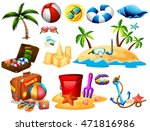 summer set with toys and island ... | Shutterstock .eps vector #471816986
