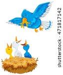 mother bird feeding the... | Shutterstock .eps vector #471817142