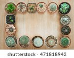 top view of cactus frame mix...   Shutterstock . vector #471818942