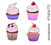 colorful isolated cupcake set.  ... | Shutterstock .eps vector #471826772