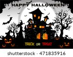 halloween night background with ... | Shutterstock .eps vector #471835916