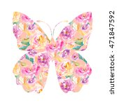 watercolor floral butterfly... | Shutterstock . vector #471847592