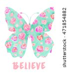 watercolor floral butterfly art ... | Shutterstock . vector #471854882