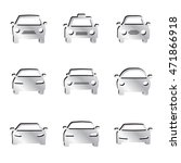 silver car icon set | Shutterstock .eps vector #471866918