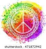 peace hippie symbol over...