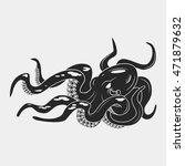 black danger cartoon octopus... | Shutterstock .eps vector #471879632