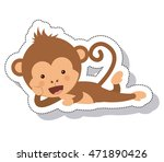 funny monkey isolated icon... | Shutterstock .eps vector #471890426