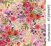 seamless ditsy botanical... | Shutterstock . vector #471894692