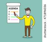 happy businessman or teacher or ... | Shutterstock .eps vector #471896036