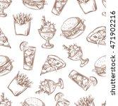 fast food vector seamless... | Shutterstock .eps vector #471902216