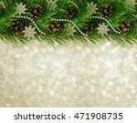 christmas garland with pine... | Shutterstock . vector #471908735