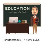 teacher in front of chalkboard. ... | Shutterstock .eps vector #471911666
