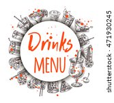 drinks menu card. round circle... | Shutterstock .eps vector #471930245