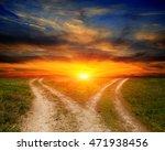 landscape with fork roads in... | Shutterstock . vector #471938456