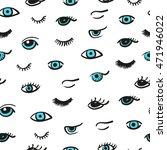 doodle eyes seamless pattern....   Shutterstock .eps vector #471946022