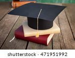 graduation cap and books on... | Shutterstock . vector #471951992