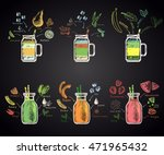set of colored chalk drawn... | Shutterstock .eps vector #471965432