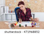 woman painter at work in... | Shutterstock . vector #471968852