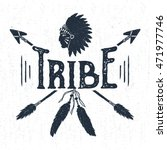 hand drawn tribal label with... | Shutterstock .eps vector #471977746