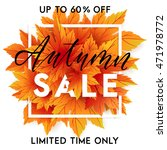 autumn sale flyer template with ... | Shutterstock .eps vector #471978772