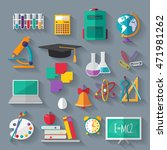 set of flat education icons  | Shutterstock . vector #471981262