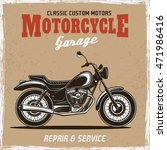 motorcycle vintage colored... | Shutterstock .eps vector #471986416