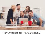 happy business people laugh... | Shutterstock . vector #471995662