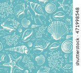 seamless pattern with seashells ... | Shutterstock . vector #471998548