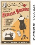 tailor shop poster with sewing...   Shutterstock . vector #472001686