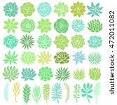 hand drawn green succulent... | Shutterstock .eps vector #472011082