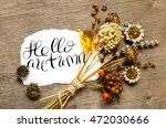 hello autumn words. brush... | Shutterstock . vector #472030666