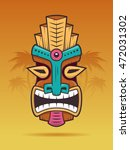 polynesian tiki mask on a... | Shutterstock .eps vector #472031302