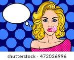 pop art blond woman with gum on ... | Shutterstock .eps vector #472036996