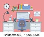 workspace for freelancer in... | Shutterstock .eps vector #472037236