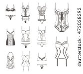 set with lace lingerie. bra ... | Shutterstock .eps vector #472038292