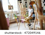 young male artist in white... | Shutterstock . vector #472049146