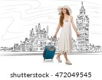 young woman travelling to... | Shutterstock . vector #472049545