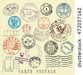 vector document stamp set.... | Shutterstock .eps vector #472057162
