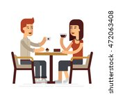 man and woman drinking coffee...   Shutterstock .eps vector #472063408