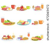 breakfast meal different sets | Shutterstock .eps vector #472065472
