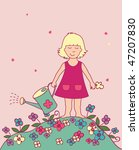 floral background with girl | Shutterstock .eps vector #47207830