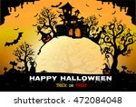 halloween night background with ... | Shutterstock .eps vector #472084048