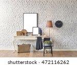 brick wall horizontal banner... | Shutterstock . vector #472116262