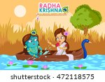 kanha playing with radha on... | Shutterstock .eps vector #472118575