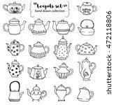 hand drawn teapots doodle...   Shutterstock .eps vector #472118806
