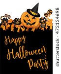 halloween party design template ... | Shutterstock .eps vector #472124698